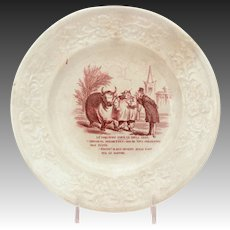Antique Humorous French Transferware Porcelain Plate Fat Bull Competition, Le Boeuf Gras, Student Becomes Master
