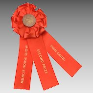 Vintage Horse Show Award Ribbon Muncie Indiana Three Gaited Equestrian Competition Second Prize, 2nd Place