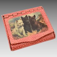 Circa 1930 Cigarette Box Case Germany Scottish Terrier, Scottie Scotty Dogs, Westie, West Highland White Terrier, Westy Puppy, Dark Brindle