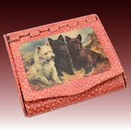 Circa 1930 Cigarette Box Case Germany Scottish Terrier, Scottie Scotty Dogs, Westie, West Highland White Terrier, Westy Puppy, Dark Brindle