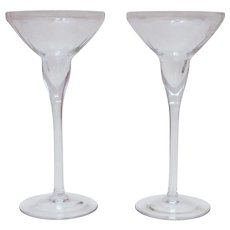 """Lenox Optika Clear Crystal Candlesticks 8"""" Pair Candle Holders with Ribbed Design"""