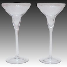 "Lenox Optika Clear Crystal Candlesticks 8"" Pair Candle Holders with Ribbed Design"