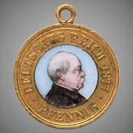 1877 Otto von Bismarck Enamel Pfennig Coin Charm or Pendant, Patriotenpfennig, Patriot Penny