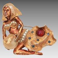 HAR Genie Pin Crystal Ball, Fish Bowl, Hargo Creations of New York, Far Eastern Series 1959 Sorceress Cleopatra Brooch