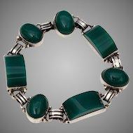 Mexican Sterling Bracelet Pre Eagle Silver Mexico Sterling Chrysoprase, Vintage Mexican Sterling Jewelry, Art Deco Style