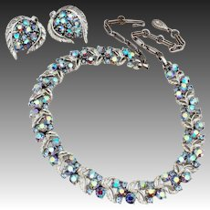 Lisner Blue Aurora Borealis Silver Tone Open Work Leaf Design Demi Parure Necklace & Earrings