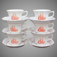 Wedgwood Porcelain Cup & Saucer Set of 6 Flying Cloud Pattern in Rust Georgetown Collection Transferware 1833 Ship Game Cock
