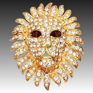 KJL Kenneth Jay Lane Lion Head Pin Pendant Topaz Crystal Eyes & Pave Rhinestone Mane
