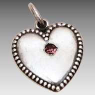 1940s Sterling Puffy Heart Charm February Birthstone, Amethyst Birthday, Anniversary Glass Rhinestone, Engraved Helen