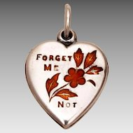 Sterling Puffy Heart Charm Red Enamel Flowers & Forget Me Not Love Message
