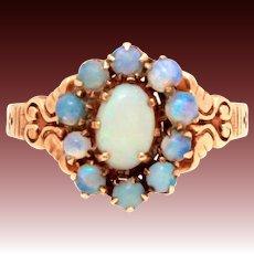 Antique Edwardian Opal 10k Rose Gold Ring, Size 6.5
