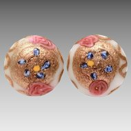 Venetian Wedding Cake Bead Earrings White & Pink with Aventurine, Glass Button Earrings, Vintage Italian Goldstone Glass Clip Ons, Made in Italy