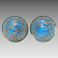 Blue & Aventurine Venetian Glass Earrings, Italian Goldstone Glass Button Earrings