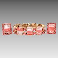 Kramer of New York Bracelet Earrings with Pink, White, and Clear Emerald Cut Glass Rhinestones with Prong Set Pink Chatons