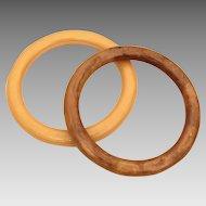Bakelite Bangle Bracelet Pair Butterscotch Light & Dark Swirled - Genuine Tested Bakelite - 2 Stacking Bracelets