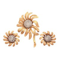 Jomaz Ciro Matching Set Pin & Earrings Textured Gold Tone Flower Petals Pave Rhinestone Centers