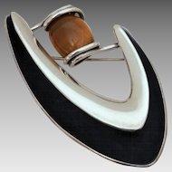 Signed Sigi Pineda Mid-Century Modern Sterling & Tiger Eye Stone Pin, Boomerang Biomorphic Brooch, Taxco Mexico Silver