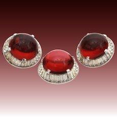 Trifari Red Cabochon & Clear Baguette Rhinestone Pin and Earring Set