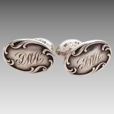 Antique Sterling Cufflinks, Engraved Edwardian Cuff Links