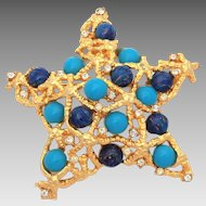 Mandle Starfish Pin Faux Lapis & Turquoise Glass Cabochons, Woven Gold Tone Star Brooch