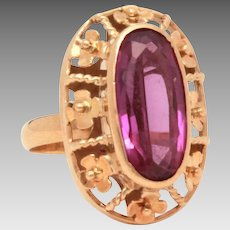 18k Amethyst Ring with Gold Flowers, Oval Faceted Gem, Size 6 to 6.25