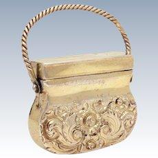 Georgian Silver Vinaigrette circa 1820 by Ledsam Vale & Wheeler, Sterling Novelty Purse Shape Vinaigrette, George IV Silver