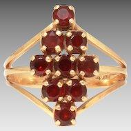 Pretty Bohemian Garnet 14k Gold Ring by Church & Co. Size 8