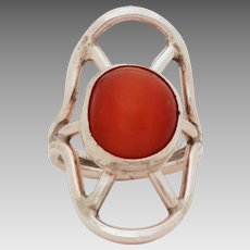 Large Sterling Amber Cabochon Ring, Design of Radiating Rays, Size 9