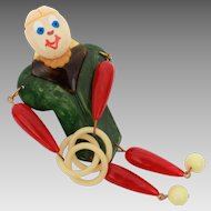 Bakelite Articulated Man Pin with Hand Painted Face, Vintage Movable Bakelite Brooch, Swirled Red & Green Bakelite