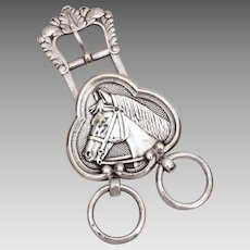 Antique Horse Head Bridle Buckle Silverplate, Equestrian Horse Riding, Headstall Bridle Silverplated Shooting Star Hallmark