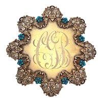 Antique Victorian Sash Buckle Gold Wash Sterling Enamel & Turquoise Glass Gems, Milky White Enameled Belt Buckle
