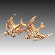 "CoroCraft Duette Pin Heavenly Swallows Sterling Birds Fur Clip, Sterling Vermeil Coro Craft 2.5"" Brooch"