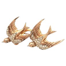 "CoroCraft Duette Pin Heavenly Swallows Sterling Birds Fur Clip, Sterling Vermeil Coro Craft 2.5"" Brooch"