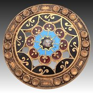 Antique Champleve Enamel Button Pin Gilt Pierced Brass Gilded with Faceted Cut Steel Gem