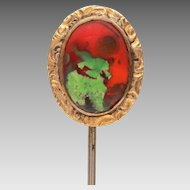 Antique Stickpin with Red Art Glass Cabochon, Red Satin Glass, Foiled Glass Stick Pin