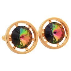 Watermelon Rivoli Cufflinks, Gold Tone Pierced Wheel Design Cuff Links