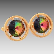 Watermelon Rivoli Cufflinks, Gold Tone Pierced Wheel Design Cuff Links