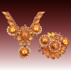 Juliana Rivoli Necklace Pin Set in Orange Topaz & Smoky Topaz Rhinestones