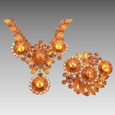 Juliana Rivoli Necklace Pin Set in Orange Topaz & Smoky Topaz Rhinestones