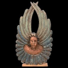 "Large 16"" Mexican Folk Art Carved Wood Angel, Painted Wood Cherub from Mexico"