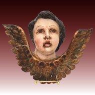 Antique Polychrome Wood Angel, Latin American Carved Wood Cherub