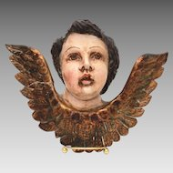 Antique Polychrome Wood Angel, Latin American Carved Wood Cherub