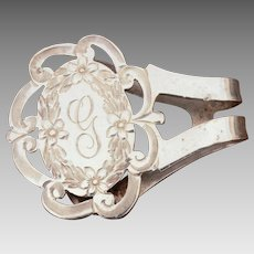 Watrous Sterling Napkin Clip Engraved Monogram G, Watrous International, Engraved Pierced Design