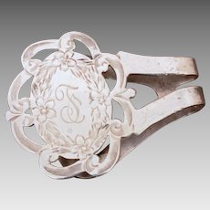 Sterling Napkin Clip Watrous International - Engraved Monogram F, T, or J - Engraved Pierced Design