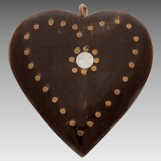 Carved Horn Heart Pendant with Brass & Silver Tone Dot Inlay, Inlaid Horn Carving, Heart Shape Carving