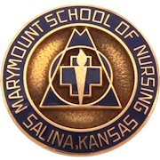 10K Marymount School of Nursing in Salina Kansas Pin, 10k Gold & Dark Blue Enamel, Nurse Medical Brooch in Original Box