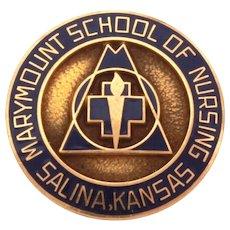10K Marymount School of Nursing in Salina Kansas Pin, 10k Gold & Dark Blue Enamel, Nurse Medical Brooch in Original Box