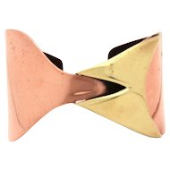 Signed Art Smith African American Modernist Cuff Bracelet Copper & Brass Hourglass Form