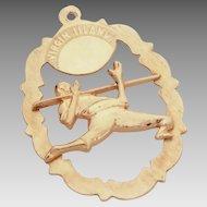 14k Gold Virgin Islands Charm with Raised Limbo Dancer, Travel Souvenir Bracelet Charm