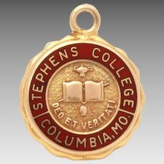14k Charm Stephens College in Columbia Missouri, 14k Gold Enamel Womens College School Crest Small Pendant or Bracelet Charm